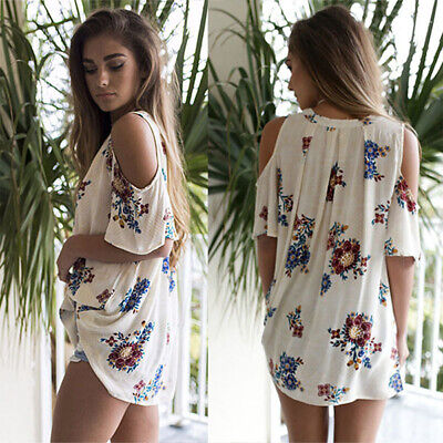 Womens Floral Cold Shoulder Blouses Tops Ladies Casual Loose Beach Long T-Shirts