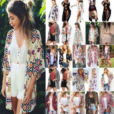 Boho Womens Cover Up Loose Floral Print Kimono Cardigan Ladies Jacket Coat Tops