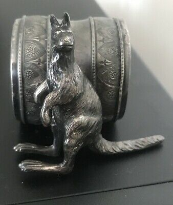 Antique Silver Plated Kangaroo Figural Napkin Ring