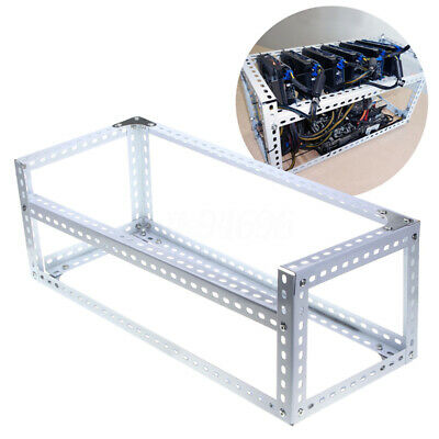 6 GPU Miner Stackable Aluminum Open Air Mining Rig Frame Case Ethereum White