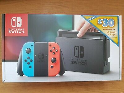 NEW Nintendo Switch Neon Red/Blue Console with £30 Nintendo eShop