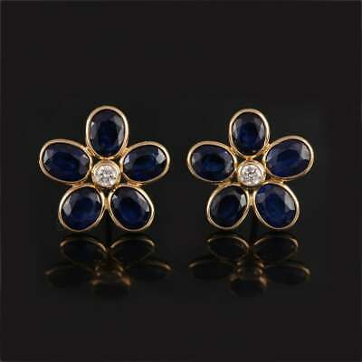 4.55 Ct Blue Sapphire Oval Flower Style Womens Stud Earrings 14K Yellow Gold Fn