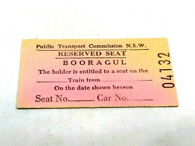 Nsw Railways Train Ticket Reserved Seat Booragul