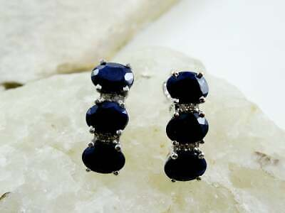 1.25 Ct Blue Sapphire Oval Claw Set Women Earrings 14K White Gold Plated Silver