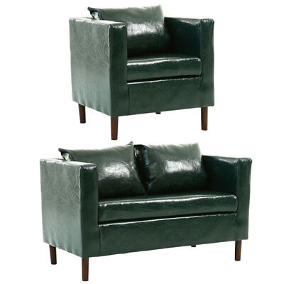 Comfy Leather 2 Seater Sofa Settee Couch with One Armchair Cushion Pillows Suite