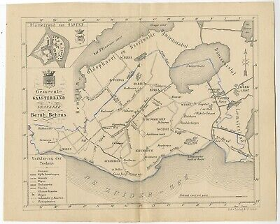 Antique Map of the Gaasterland township by Behrns (1861)