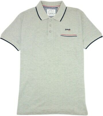 """Schott Men's Grant S/S Polo Shirt Embroidered T-Shirt Sport Grey Size M Uk39-40"""""""