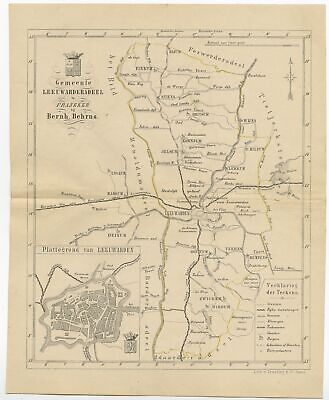 Antique Map of the Leeuwarderadeel township by Behrns (1861)
