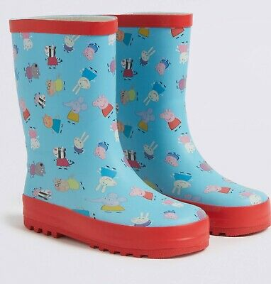 BNWT Cute M&S Peppa Pig WELLIES Wellington Boots SIZE 10 (Younger)Brand New