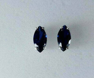 1 Ct Blue Sapphire Womens Solitaire Stud Earrings 14K White Gold Plated Silver