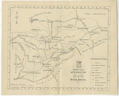 Antique Map of the Opsterland township by Behrns (1861)