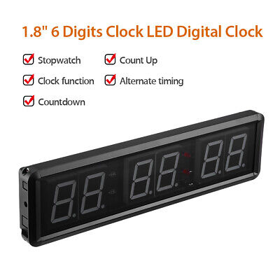 """1.8"""" 6-Digits LED Interval Timer Crossfit Wall Clock Big Stopwatch with Remote"""