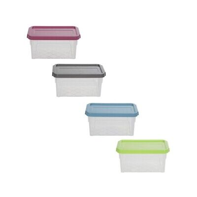Spacemaster 2 Litre Plastic Storage Box With Coloured Lid