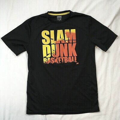 Kids XL Extra Large New Balance Slam Dunk Basketball T Shirt Black Yellow Orange
