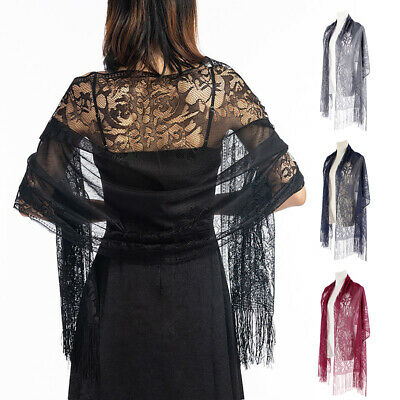Fashion Women Wrap Shawl Tulle Wedding Lace Pashmina Party Evening Shawls Scarf