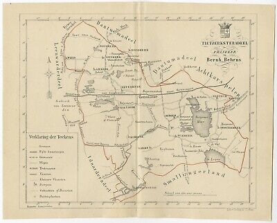 Antique Map of the Tietjerksteradeel township by Behrns (1861)