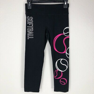 JUSTICE Active Girl's 14 Softball Cropped Leggings Excellent Black Pink