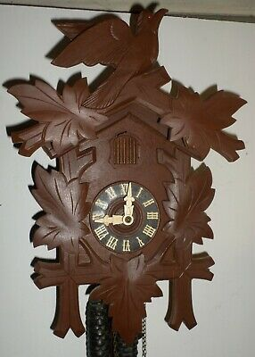 Very Nice Old Unusual German Black Forest Traditional Hand Carved Cuckoo Clock!
