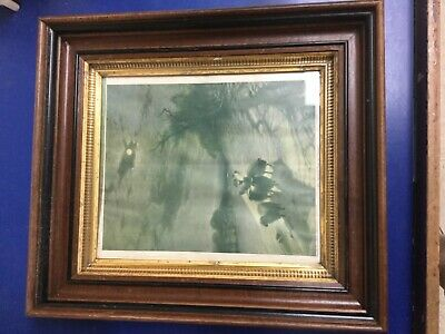 "Stunning Antique Victorian Deep Walnut Shadowbox Wood Gilt Picture Frame 12""x10"""