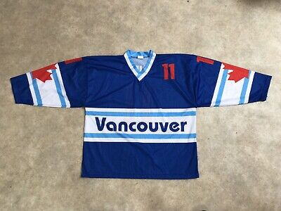 Maillot Hockey Sur Glace Ancien Vancouver Numero 11 Lorimer Taille L
