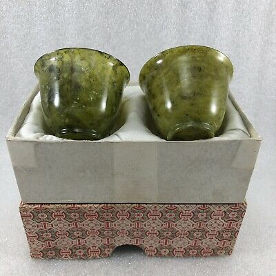 SC9 Asian Chinese Green Jade Stone Tea Cup Set Of 2