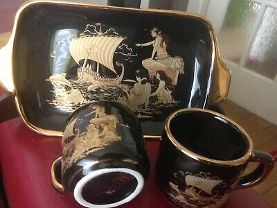 KE Greek Pottery Set With 24 KT Gold Trimming