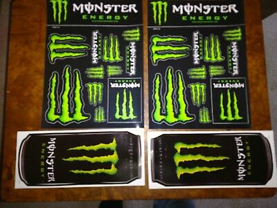 2 Monster Energy Logo Sheets - Set of 12 Monster Claw Logos Stickers & extras