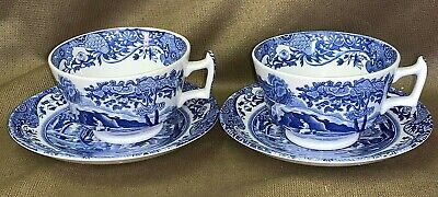 2 x Spode England Italian Blue and White Cups and Saucers