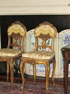 Louis XV style French Gold Leaf Parlor Chairs with silk jaquard cushions