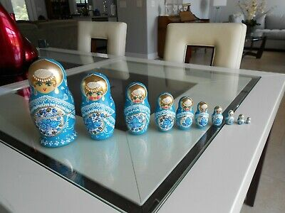 10 Wood Russian Nesting Dolls Hand Paint Gift Purchased in The Ukraine 1990