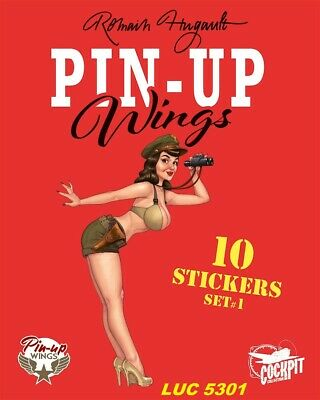 Set N°1 De 10 Stickers Pin-Up Wings Édition Limitée Romain Hugault Edit. Paquet