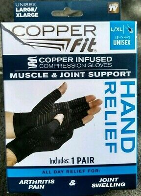 Copper Fit Hand Relief Muscle & Joint Support Compression Gloves L/Xl 1 Pair !