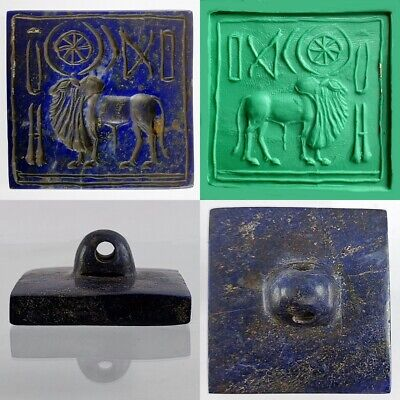Indus Valley Bull Lapis Lazuli Very Old Near Eastern Stamp Seal & Symbols #162