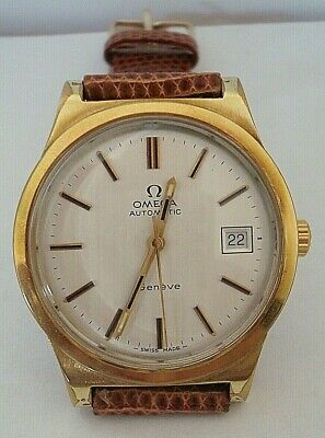 Vintage 1974 Gents Gold Plated Omega Geneve Automatic Date Strap Watch Cal 1012