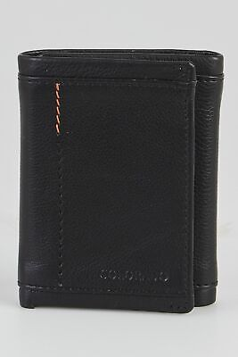 New Colorado Leather RFID Stitch Trifold Wallet Mens Trifold Black by-Strandbags