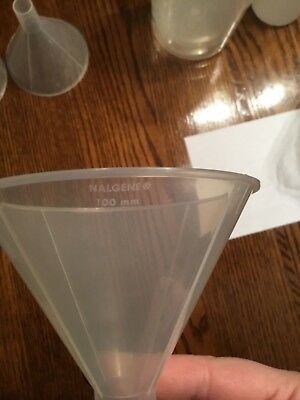 (1) NEW Nalgene 100mm Autoclavable Polypropylene Powder Funnel