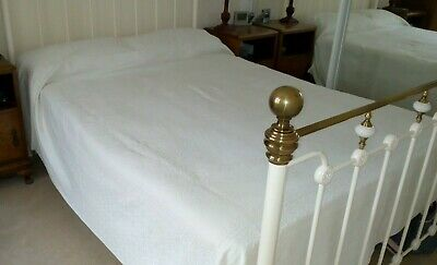 Antique/ Vintage heavy white linen Bedspread with Jacquard pattern - double size