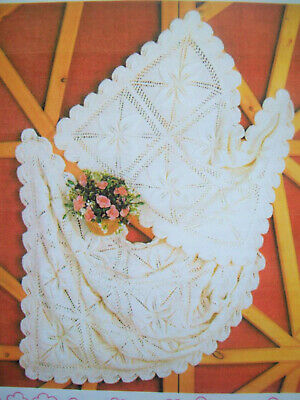 Baby Girls Flower Pram Cover Cot Blanket KNITTING PATTERN DK 28 x 19in 28 x 38in