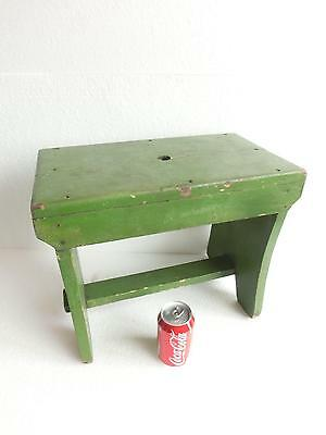 ANTIQUE Chippy Green Paint Large WOOD WOODEN Foot Stool PRIMITIVE Bench