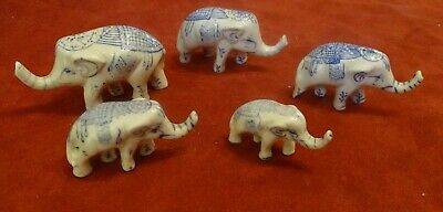 Five Antique  Graduated Ceramic Chinese Elephants