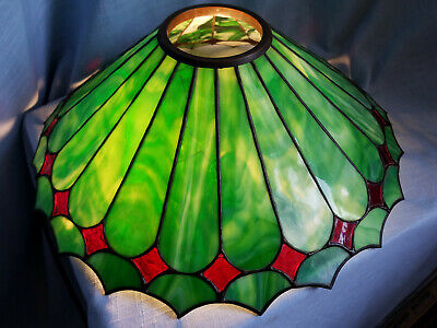 Antique Vintage Arts & Crafts Period Green Red Slag Glass Lamp Shade Steuben Era