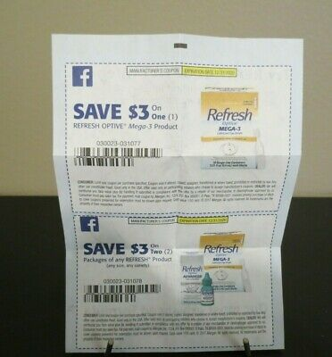 Refresh lubrication Eye Drops Manufacturer's Coupons Worth $6.00 Expires 12/2020