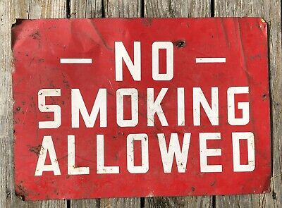 """Vintage Metal Sign NO SMOKING ALLOWED Old Gas Station Red & White 20""""x14"""""""