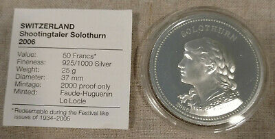 2006 Solothurn Silver Proof Swiss Shooting Thaler Festival 50 Francs