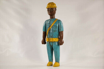"Colorful Baule Colonial Statue 26"" - Ivory Coast - African Art"