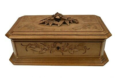 Vintage Black Forest Floral Carved Jewellery Box, German.