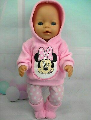 "Dolls clothes for 17"" Baby Born doll~MINNIE MOUSE PINK HOODIE/ LEGGINGS/BOOTS"