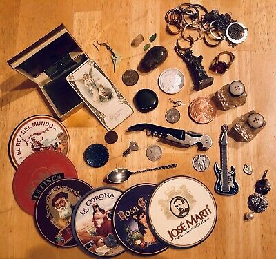 Junk Drawer LOT Silver, Coins, Bullion, Jewelry, Cigar Coasters, Misc Items