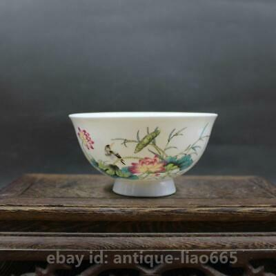 "4.7"" Collect Chinese Famille-rose Porcelain Lotus Flowers Birds Kung Fu Tea Bowl"