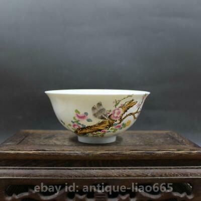 "5.3"" Chinese Famille-rose Porcelain Plum Blossom Flowers Birds Kung Fu Tea Bowl"